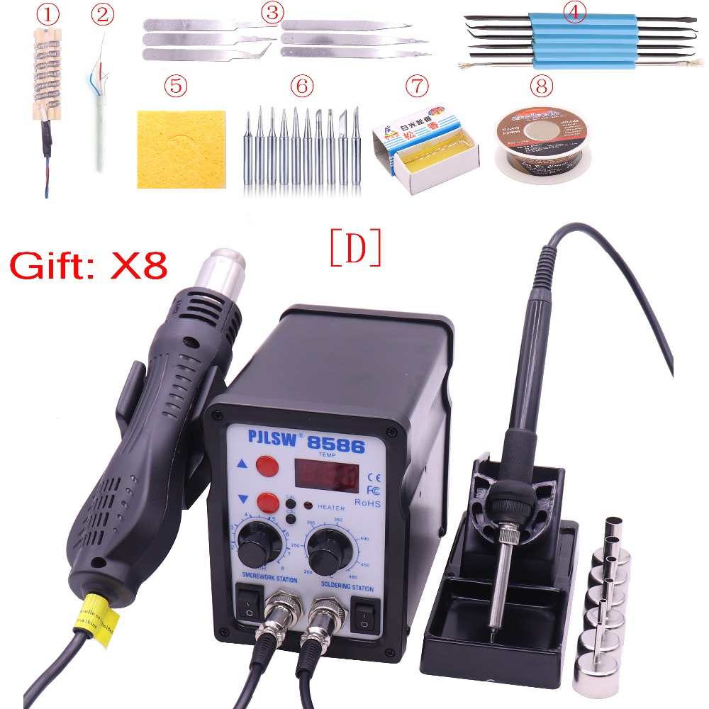 PJLSW 8586 700W ESD Soldering Station LED Digital Solder Iron Desoldering Station BGA Rework Solder Station Hot Air Gun Welder