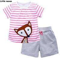 Little Maven Brand Children Clothing 2017 New Summer Baby Girls Clothes Lovely Thinking Fox Striped Children