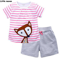 Little maven brand children clothing 2017 new summer baby girls clothes lovely thinking fox striped children's cotton sets 62009