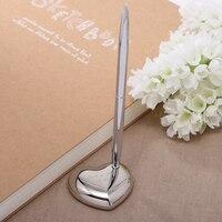 Personalisierte Hochzeit Stift Mit Halter, Benutzerdefinierte Hochzeit Geschenk, Silber Metall Hochzeit Stifte Für Unterzeichnung, Verlobungsfeier liefert