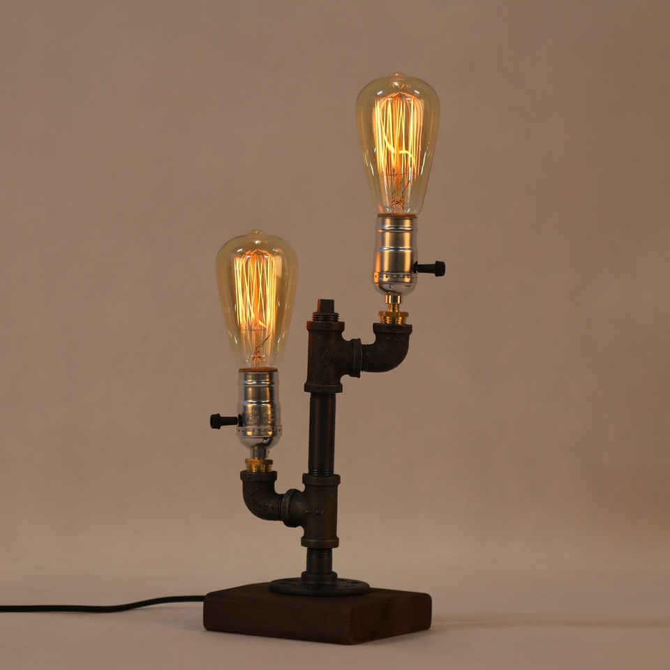 Novelty Loft Industrial Dimmer Table Lamp Pipe Desk light Wood Base for Living Room Decor Night Lighting E27 Bulb Free Shipping