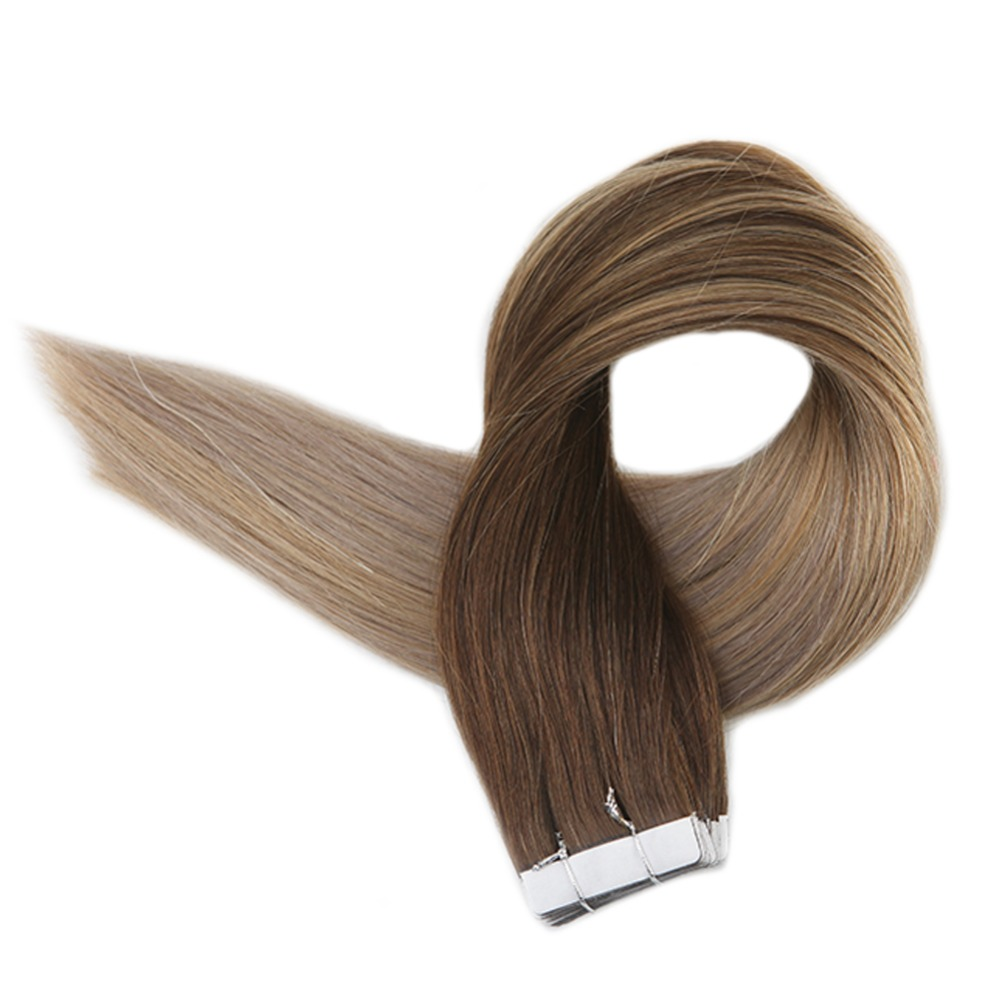 Full Shine 100g Glue On Balayage Hair Extensions Color #4 Fading To #18 And #27 Honey Blonde 40Pcs Tape In Remy Hair Extensiones