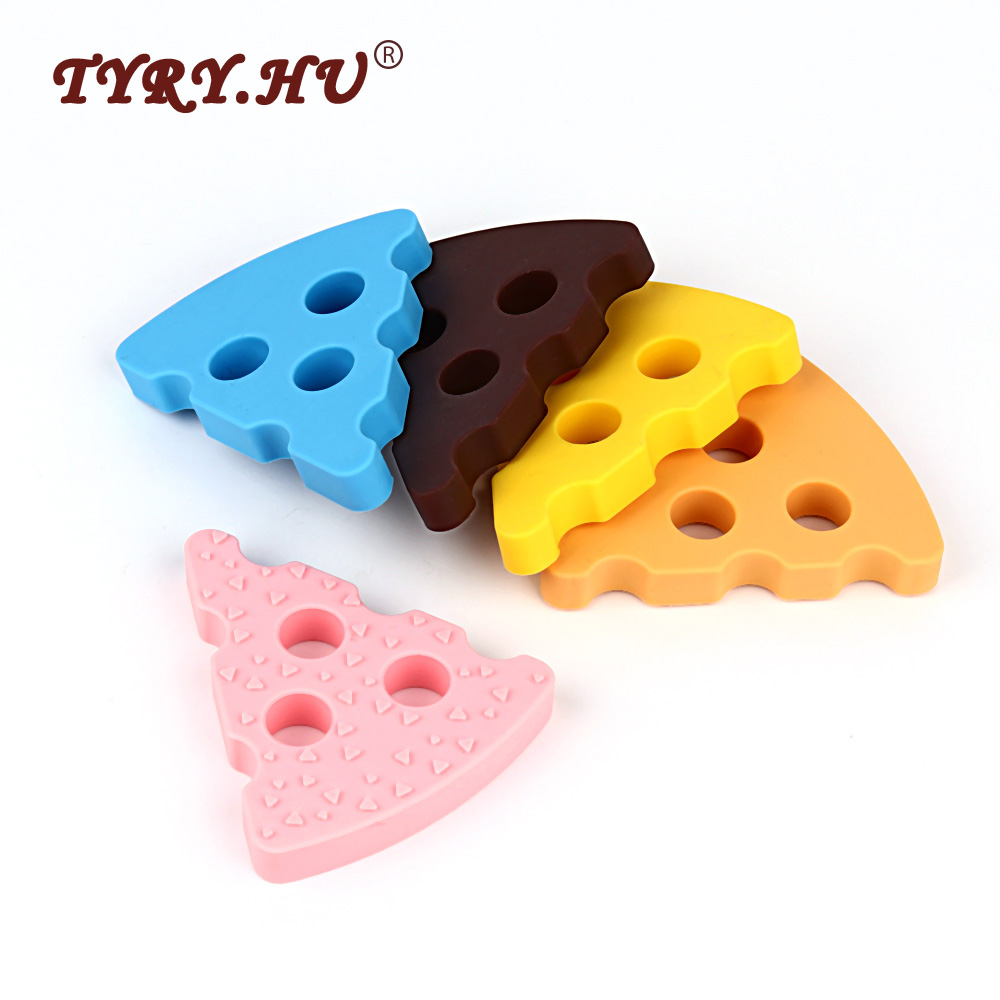 TYRY.HU 1Pc Cheese Baby Teethers BPA Free Silicone Teether Food Grade Baby Teething Beads DIY Necklace Pendent Candy Colors