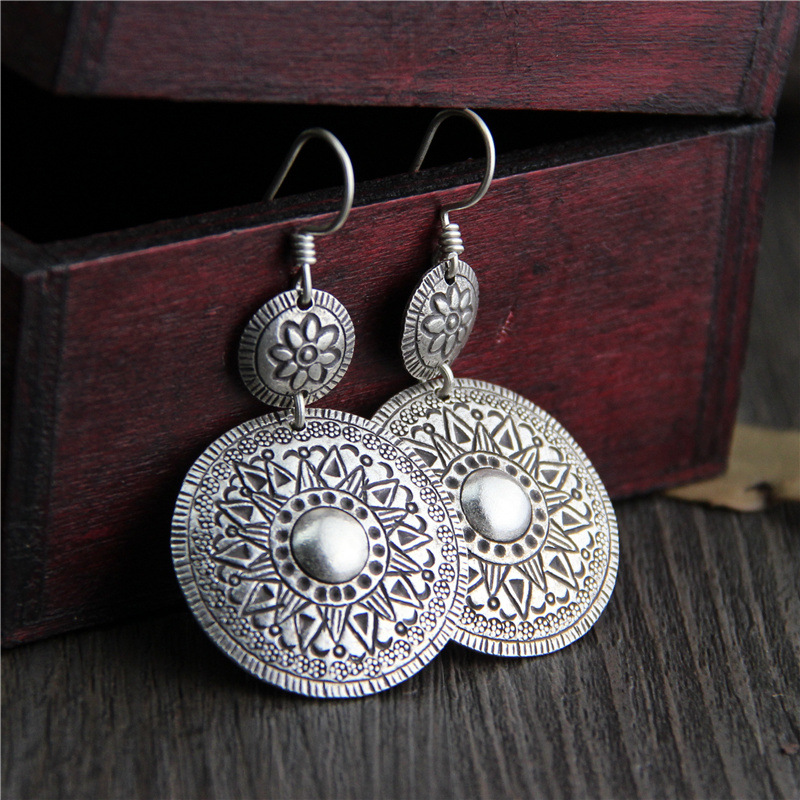 C&R Real 925 Sterling Silver Earrings for Women Handmade Carved Pattern Round Tag Thai Silver Drop Earrings Fine Jewelry