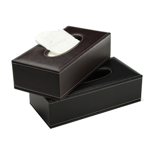 Hot Pu Leather Tissue Box Cover Office Home Car Napkin Toilet Paper Holder Case Business