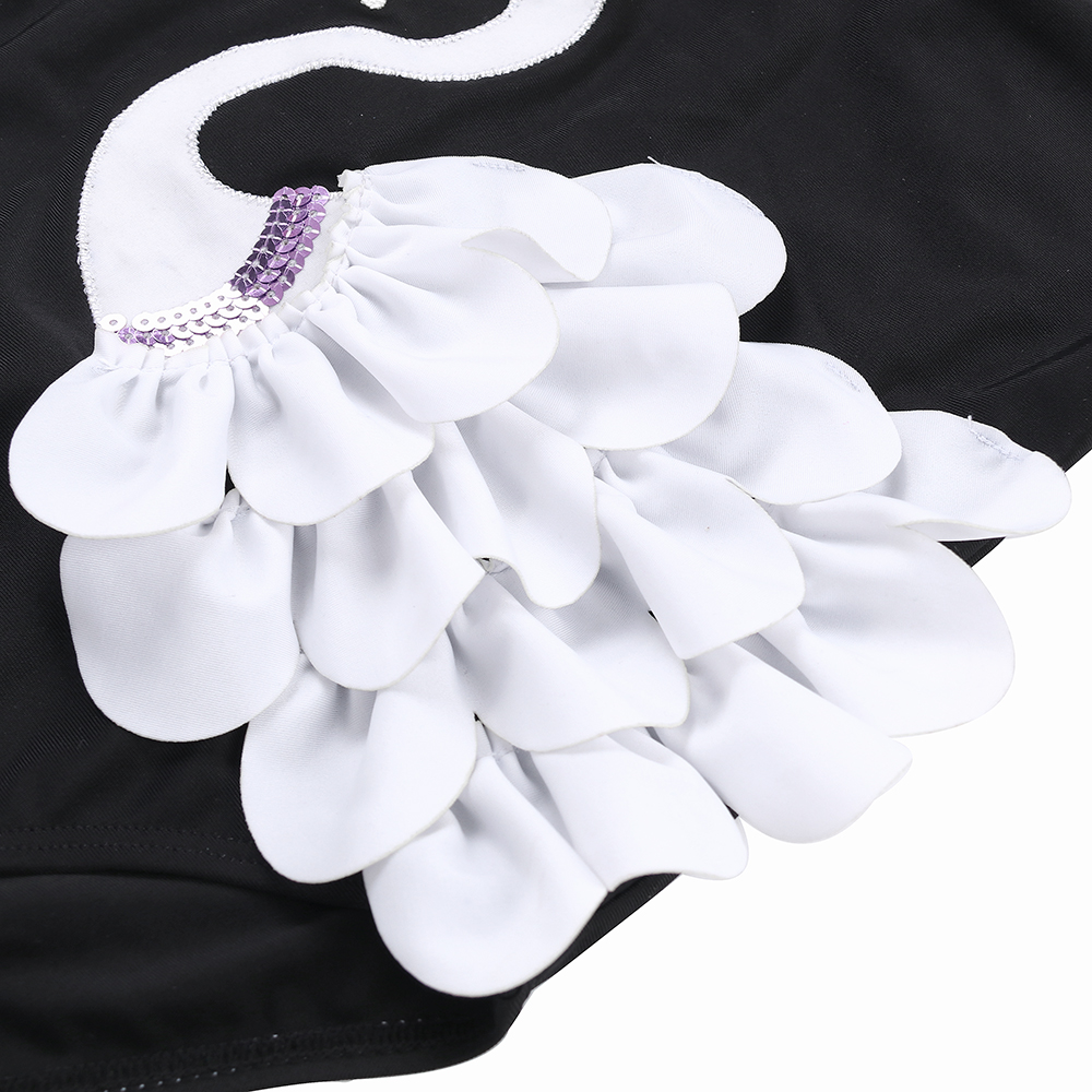 Children 39 s swimwear one piece swimming suits embroidery swans kids swimsuit one shoulder beach wear wooden ear lace bathing suit in Children 39 s One Piece Suits from Sports amp Entertainment