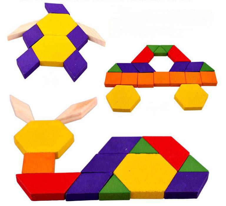 BOHS шаблон головоломки и доски классическая игрушка с 60 твердой древесины формы Tangram головоломка игрушки