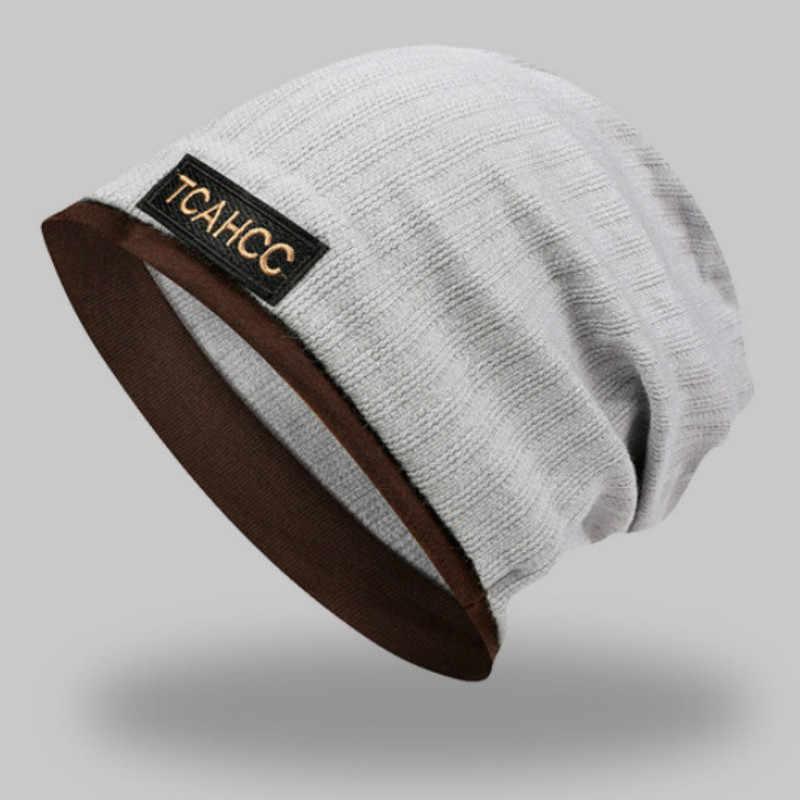 Bawełna w paski kucyk Turban kapelusz czapka z daszkiem dla kobiet na co dzień wiosna jesień podwójnego zastosowania pończochy kapelusz szalik kobieta Skullies czapka Bonnet