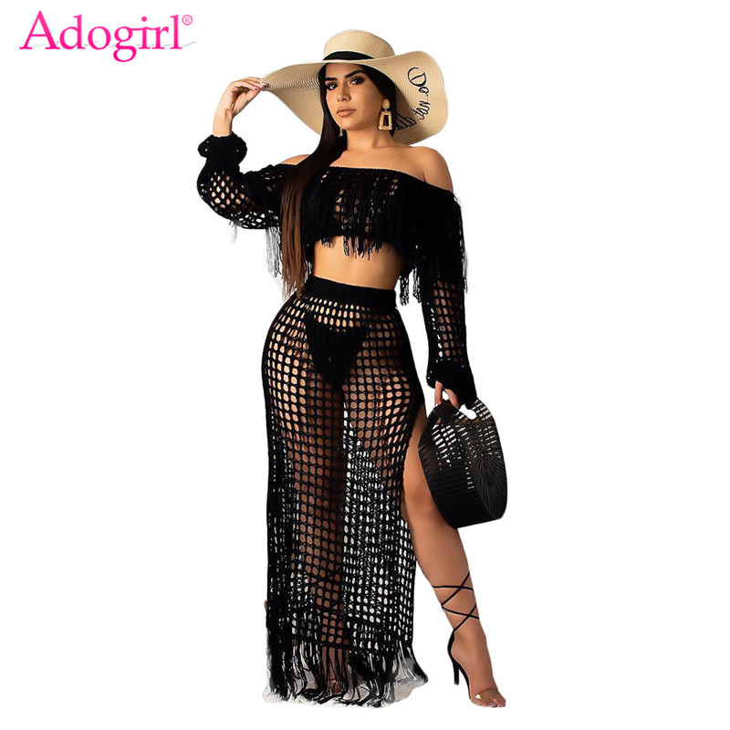 Adogirl Hollow Out Fishnet Tassel Knitted Two Piece Set Summer Beach Dress Off Shoulder Lantern Sleeve Crop Top + Maxi Skirt