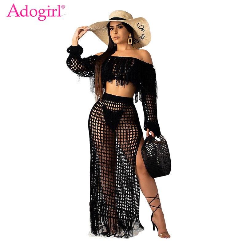 adogirl-hollow-out-fishnet-tassel-knitted-two-piece-set-summer-beach-dress-off-shoulder-lantern-sleeve-crop-top-maxi-skirt