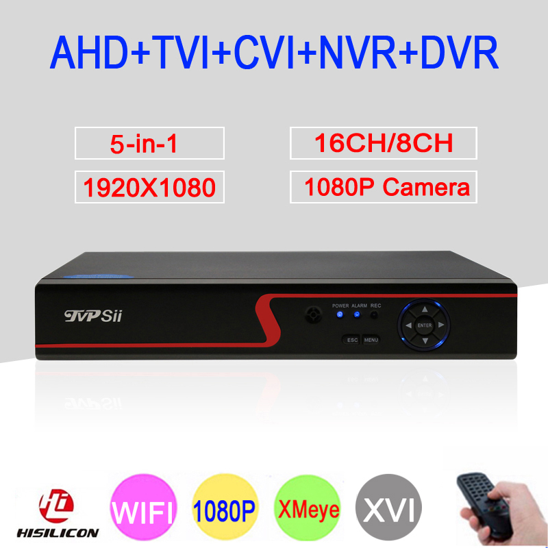 1080 p Caméra de Surveillance Rouge Panneau Hi3531A 16CH/8CH XMeye 6 dans 1 WIFI Coaxial Hybride Onvif NVR TVI AHD CCTV DVR Livraison Gratuite