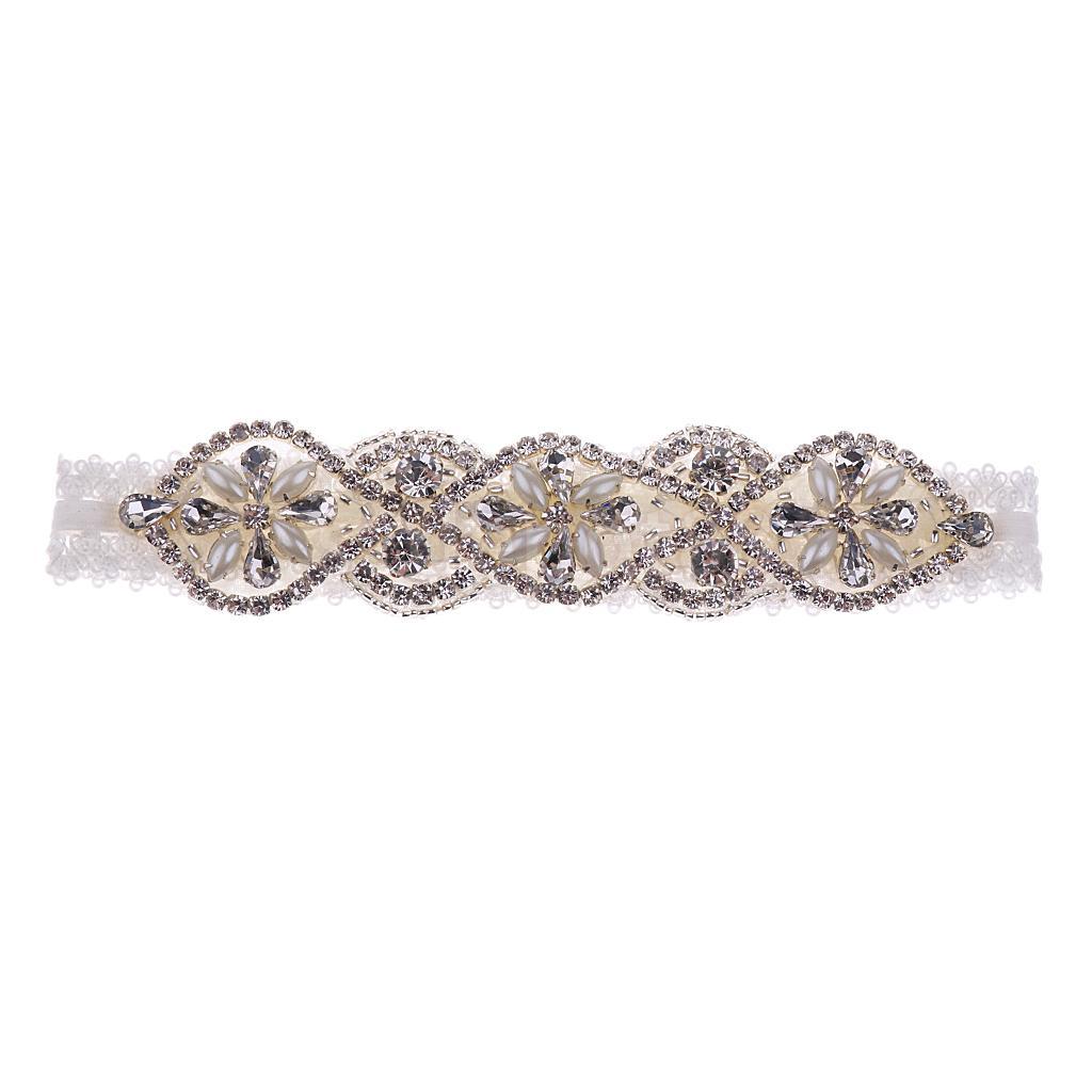 Wedding Garter Lace Rhinestone Beads Pearls Flower Applique Bridal Stretchy Keepsake Toss Garter White