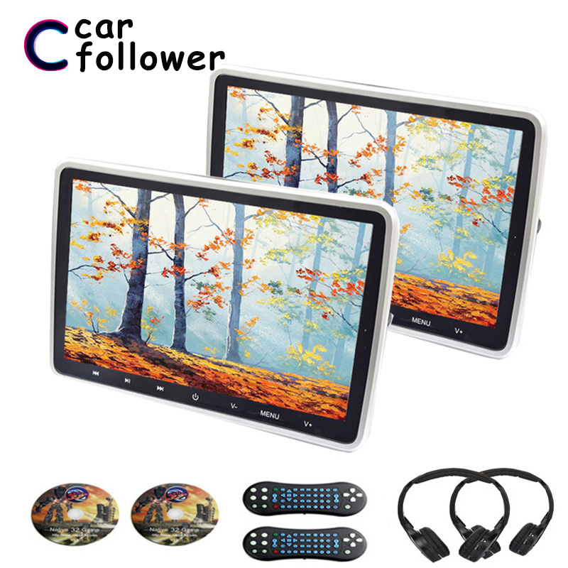 2PCS 10.1 Inch Monitors For Cars DVD Video Player TFT LCD Screen Touch Button MP5 USB/SD/HDMI/IR/FM/Game Headrest Screen(China)