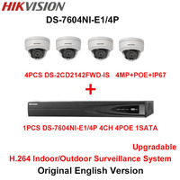 Hikvision Original English H 264 Surveillance System 4pcs DS 2CD2142FWD IS 4MP IP Camera POE 6MP