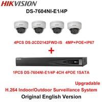 Hikvision Original English H 264 Surveillance System 4pcs DS 2CD2142FWD IS 4MP IP Camera POE 6MP