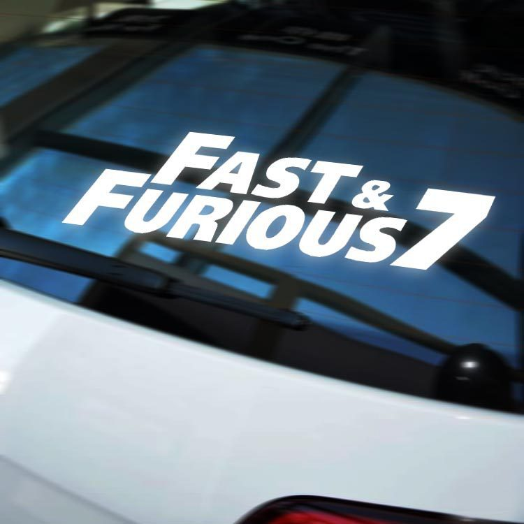 100pcs wholesale car styling the fast and furious 7 car sticker car body side door window vinyl sticker decal in car stickers from automobiles motorcycles