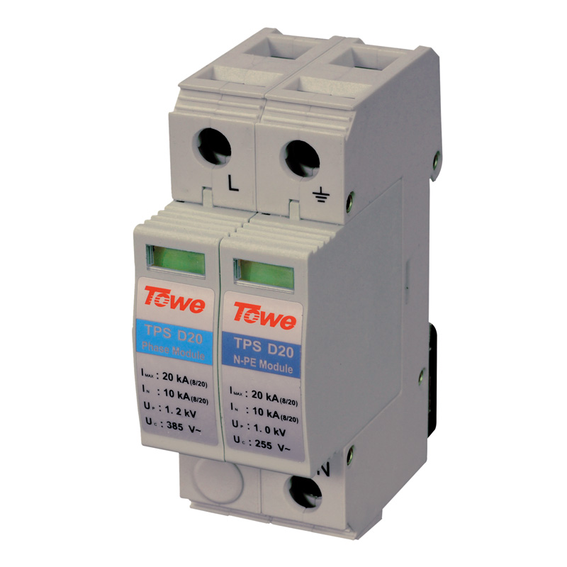 TOWE AP D20 Power series surge protective device 1P Imax:20KA(8/20) with deterioration indicator Lightning Current Arresters 2 in 1 10ka bnc video signal 2pin power surge protection device black silver 12 24 220v