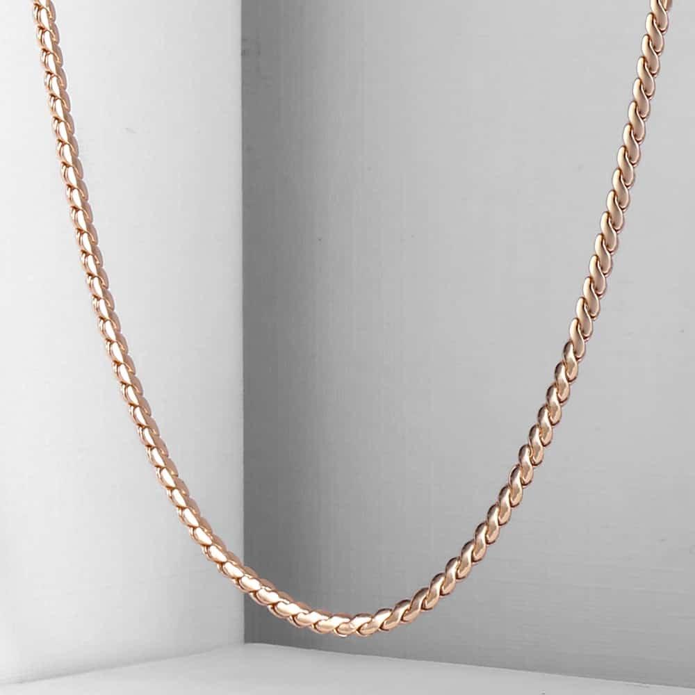 2mm fino feminino menina 585 cor de ouro rosa serpentina ligação espinha de peixe corrente colar elegante jóias 20-24 polegada cn16