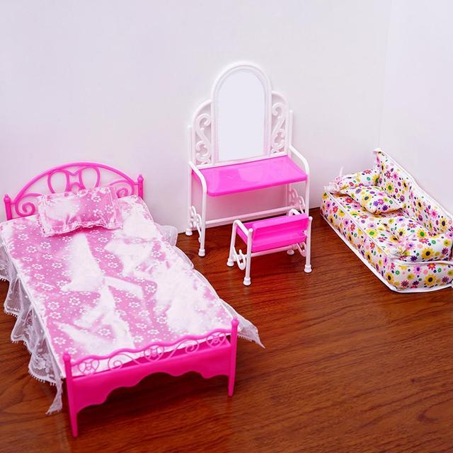 Grande Cama Para Con Muebles De Barbie Muñeca Accesorios Tocador Sillas Juguetes Casa Niñas m0Nnw8