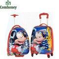 Minnie Mouse Crianças Viajar Saco Do Trole Dos Desenhos Animados ABS Hardside Bagagem de Viagem Malas de Viagem sobre Rodas Meninos Das Meninas das Crianças sobre Rodas