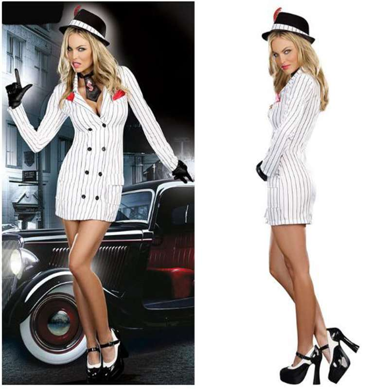 Mysterious OL Magician Uniform Appeal Low Cut Uniform Cosplay Suit Halloween Game Play Clothes