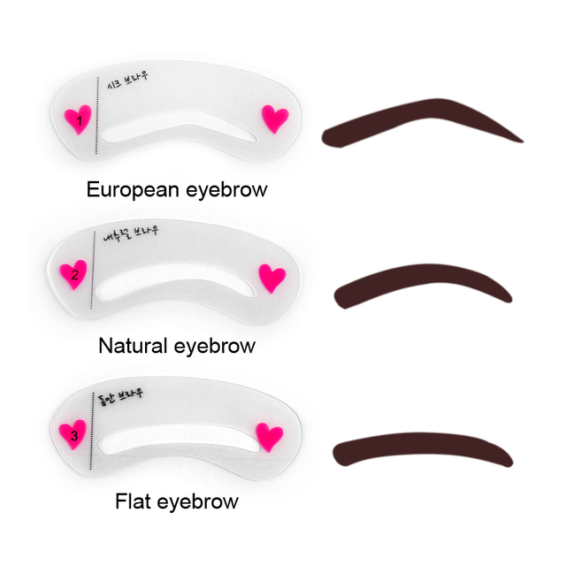 60Pcs 3 types Reusable Eyebrow Stencils Eye Brow DIY Drawing Guide Styling Shaping Grooming Template Card Easy Makeup Beauty 1