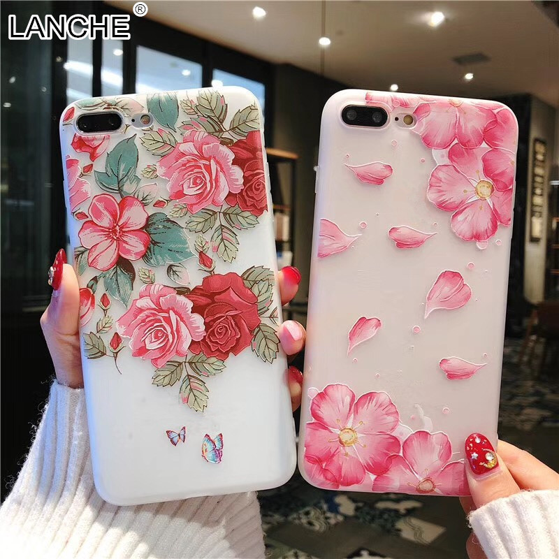 LANCHE Floral Flower Phone Cases For iPhone X 5 5S se 6 6s 7 8 Plus Case Soft Matte TPU Silicone Back Cover Full Protect Coque