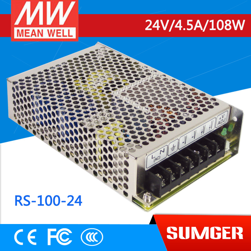 ФОТО [Freeshiping 2Pcs] MEAN WELL original RS-100-24 24V 4.5A meanwell RS-100 24V 108W Single Output Switching Power Supply
