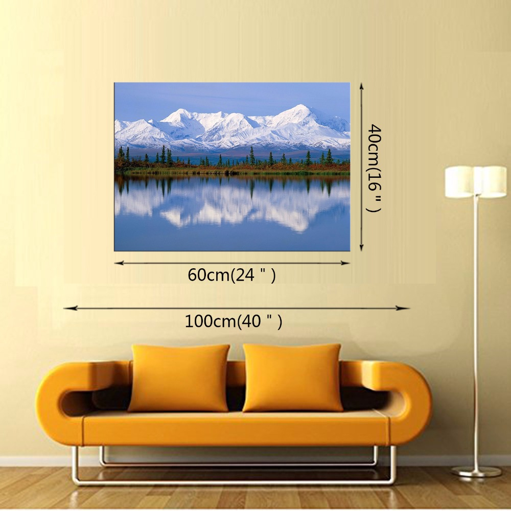1 Panel Nature Snow Mountain Scenery Canvas Painting Blue Lake Wall ...