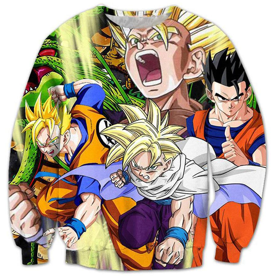 2017 NEW FASHION MEN WOMEN the Dragon Ball Z colorful 3D Print Sweat shirts Pullovers Tracksuit Streetwear Loose Thin Hoody Top
