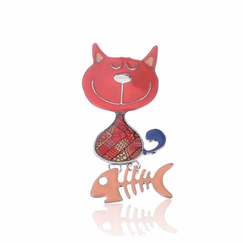 الكرتون القط الأسماك العظام دبابيس لطيف المينا بروش دبابيس للنساء الرجال الموضة خمر الزنك سبيكة مجوهرات اكسسوارات الملابس