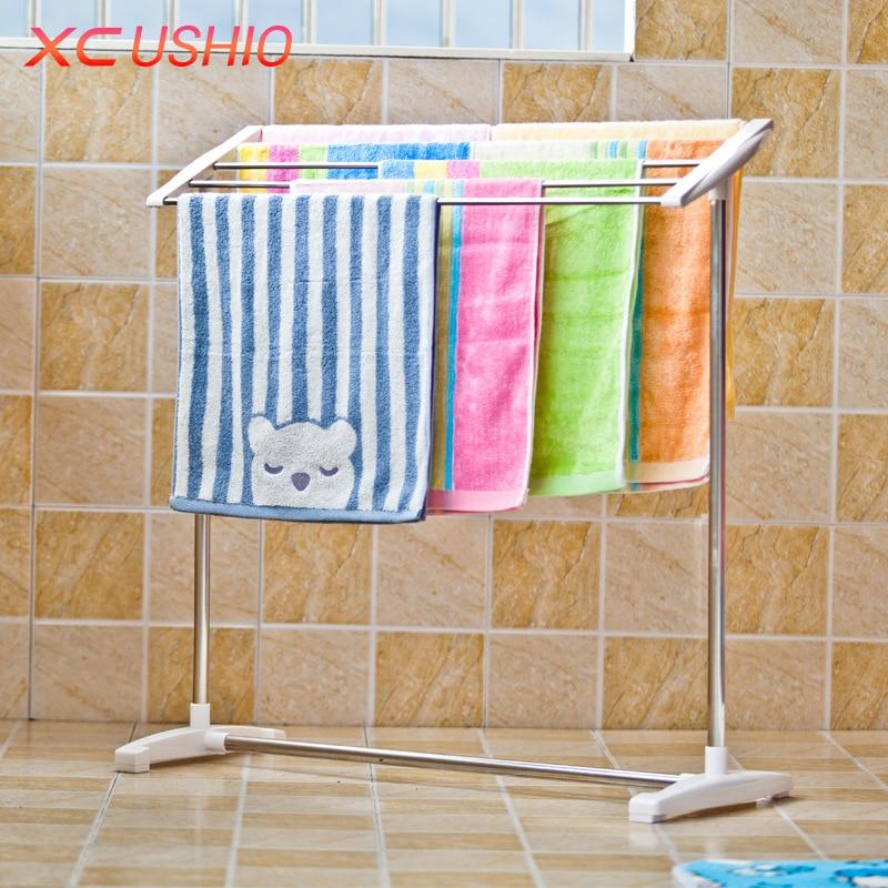Multifunctional Towel Drying Rack Balcony Bath Towel Socks Underwear Bra Hanging Drying Rack Bathroom Storage Shelf