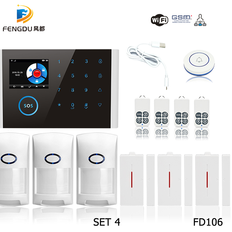 2019 Newest Wireless Home Security GSM WIFI GPRS Alarm System IOS Android APP Remote Control PIR Sensor Door Sensor Doorbell kit