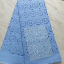Blue african cotton lace fabrics 5yards polish for men cloth High quality nigreian swiss voile pl1-600