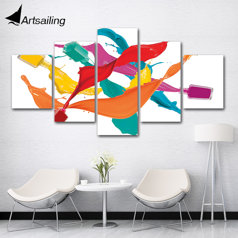 ArtSailing 5 Piece Canvas Painting Colorful Nail Polish