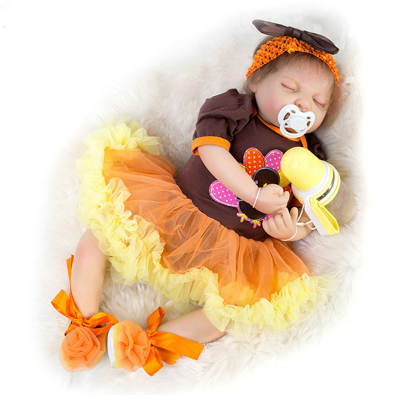 54 CM Silicone Mini Baby Doll with Magnetic Pacifier Childrens Girl Toy 21inch Lifelike Reborn Baby Doll New Style Clothes54 CM Silicone Mini Baby Doll with Magnetic Pacifier Childrens Girl Toy 21inch Lifelike Reborn Baby Doll New Style Clothes