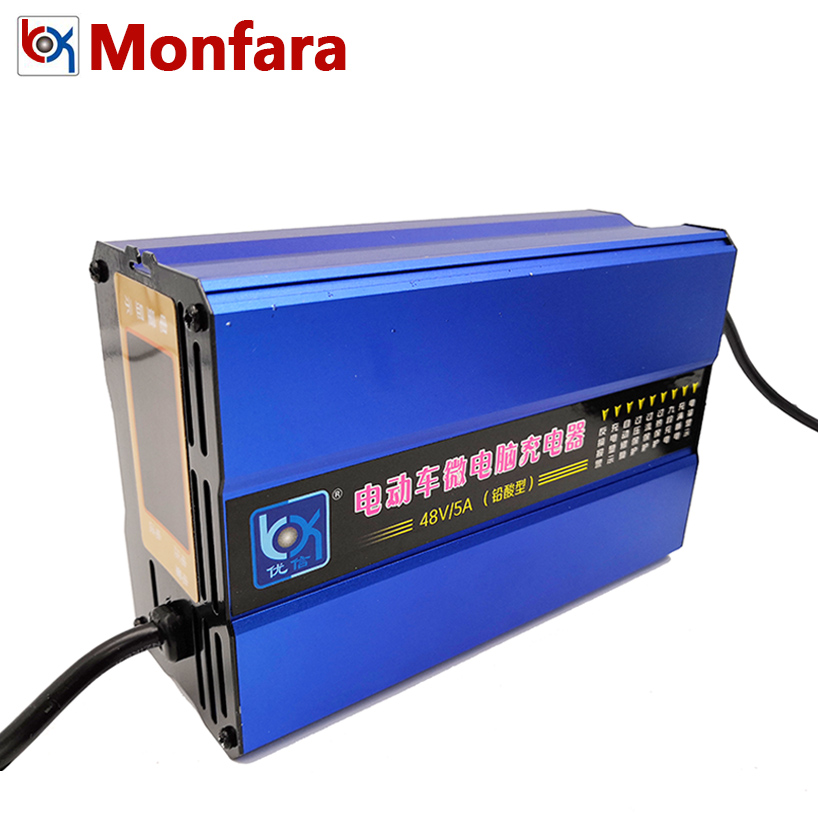 Chargeur Intelligent de batterie de 48 V 5A pour la voiture électrique Tricycle de moto plomb-acide AGM GEL CA sans entretien scellé 20a 40a 60a