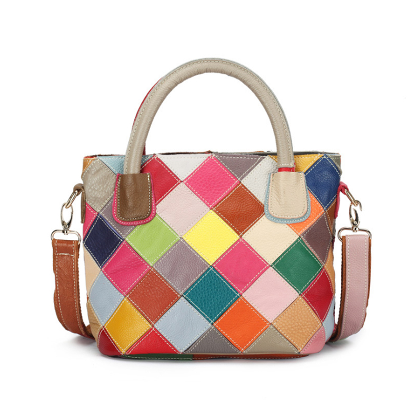 2019 Genuine Leather Women Handbag Fashion Multicolor Patchwork Cow Leather Brand Female Bags High Quality Ladies Shoulder Bags-in Shoulder Bags from Luggage & Bags    2