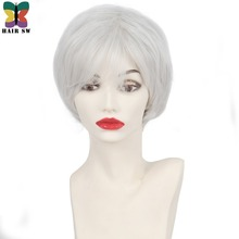 HAIR SW Short Pixie Cut Fluffy Wig Soft Natural Silver white Synthetic Hair Wig With bangs for older ladies