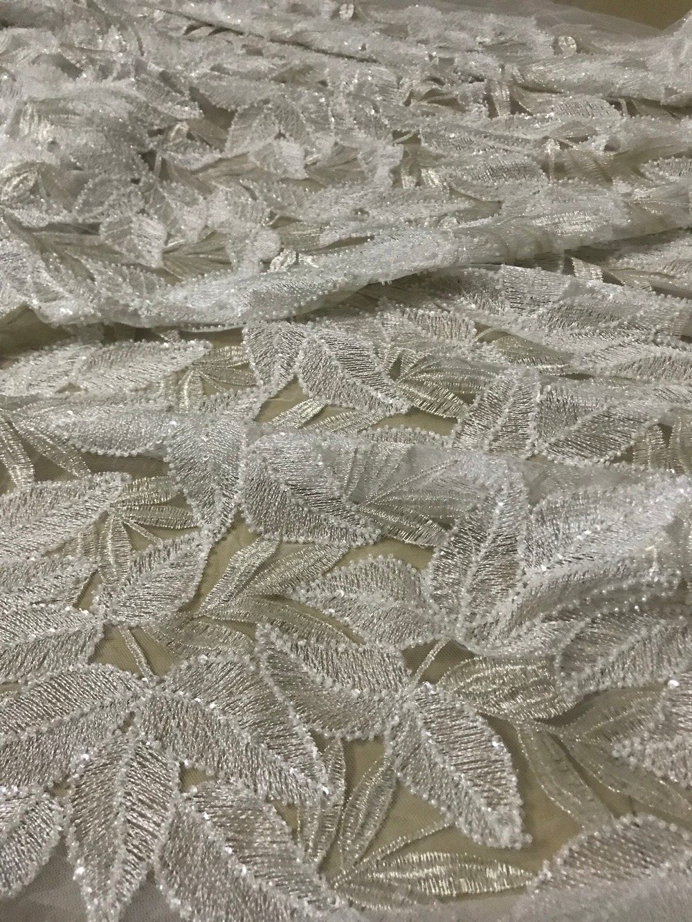 JIANXI C 32008 good looking African tulle embroidery lace fabric with beads for party dress or