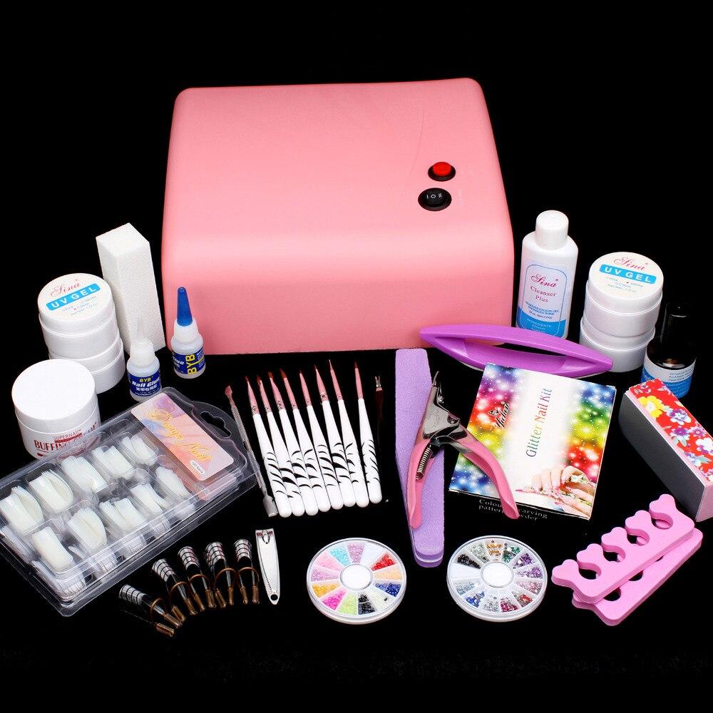 Nail Art Kit UV Builder Gel 36W Timer Dryer Lamp Decorations full Tools Set #65set 2017 hot pro full 36w white cure lamp dryer 12 color uv gel nail art tools set kit