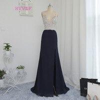 HVVLF черные 2019 платья для выпускного вечера А силуэт глубокий v образный вырез Длинные Кристаллы бисера спинки сексуальное платье для выпуск
