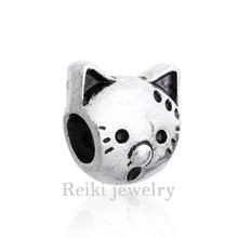 New Arrival Silver  pkated   European Cat Beads Fits Pan Charm Bracelets Charm necklaces & pendants