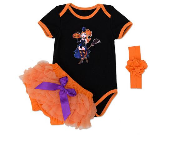 Baby Girls 3PCS Set Suits 100% Cotton 2017 Halloween Costume Romper+Bloomer Cartoons Infant Toddler Sets Baby Clothes Kids Wear