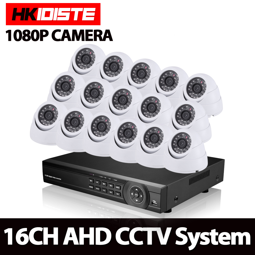 16CH AHD DVR 16*1080P Dome AHD CCTV Kits 2.0MP White Security Cameras Super Night Vision Home Video Surveillance System NO HDD ahd 16ch cctv system 1080p hdmi dvr kit 2500tvl outdoor security waterproof night vision ahd 960p 16 cameras surveillance kits