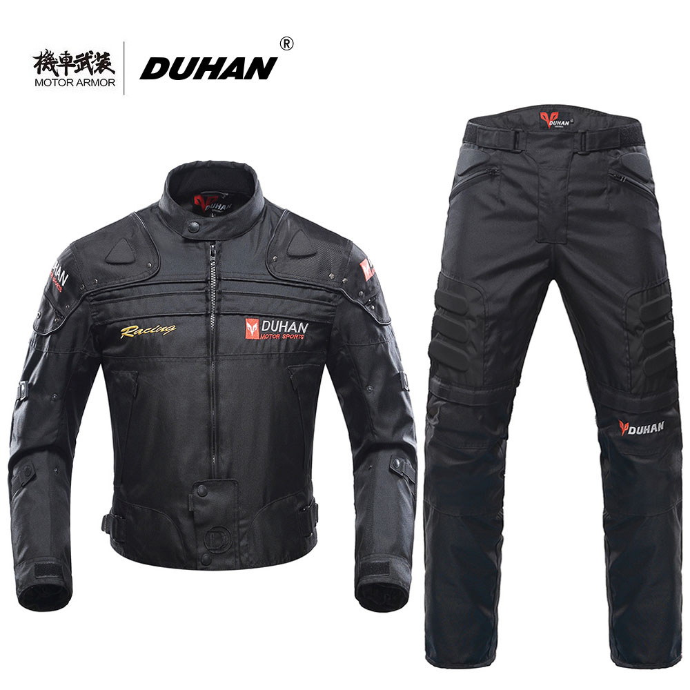 Духан Блузон мото Для мужчин мотоцикл Мотокросс гонки по бездорожью Куртка бронежилет + брюки для верховой езды Костюмы комплект цвет: черн