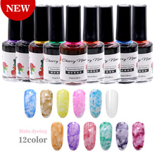 15 ml Halo Dye Ink Gel Nail Polski 12 Kolory Soak Off Gel Nail Art Manicure 3D Projekt Naturalne Suche żel Nie LED/UV Lakier Lakier(China)