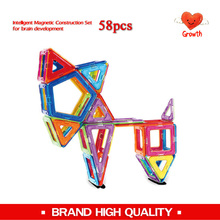 Brand 58 pcs free manual free toy bag Magnetic blocks kids educational magnetic models & building blocks magnetic toys