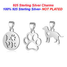 100% 925 Sterling Silver Dog Zampa Collana Del Pendente di Amore Del Cane di fascini Vnistar Animale Cane a forma di fascini per i Monili delle Donne commercio all'ingrosso(China)