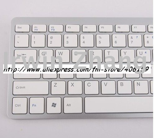 R009Newest Keyboard for Apple 2.4G Mini Portable White & Silver cable-free Wireless batteries Included